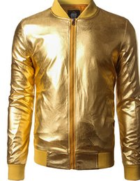Wholesale Night Jacket - Coated Metallic Jacket Men Night Club Hip Hop Zipper Coats Stand Collar Shiny Men Veste Homme Baseball Varsity Jackets