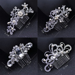 Wholesale crown combs - Fashion Bridal Wedding Tiaras Stunning Fine Comb Bridal Jewelry Accessories Crystal Pearl Hair Brush