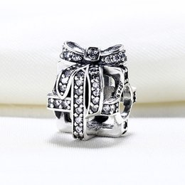 Wholesale Pandora Bead Gift Box - Wholesale Real 925 Sterling Silver Not Plated Gift Box Charm European Charms Beads Fit Pandora Snake Chain Bracelet DIY Fashion Jewelry