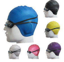 Wholesale Protect Hair Color - Wholesale- Sbart Swimming Caps Women and Men Universal Silicone Swim Cap Waterproof Hair Ear Protect Swimming Cap