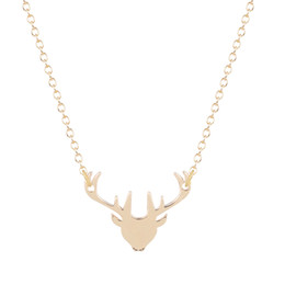 Wholesale Deer Charm Pendant - 10pcs lot Trendy Chic Charming Silver Gold Deer Head Long Necklaces Women Cute Animal Pendant Statement Jewelry Christmas Gifts