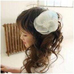 Wholesale Hair Bow Ballerina - Korean Flower Baby Girls Accessories Sweet Floral Yarn bows for gifts Fashion Fascinator Hair Clip ballerina hair clips C066