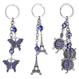 Wholesale Turtle Purse Bag - Butterfly Turtles Eiffel Tower Keychain Keyring - Blue Evil Eye Rhinestone Purse Bag Pendant Jewelry - Metal Key Chains Holder Gift