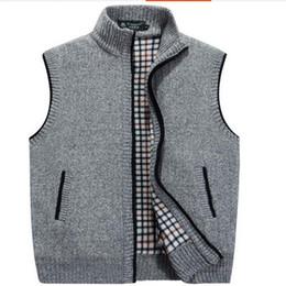 Wholesale Men S Sleeveless Sweaters - VXO MEN Cardigan Sweater Men Cardigan Vests Wool Vest Knitted Flocking Mens Cardigans Sleeveless