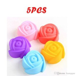 Wholesale Rose Cookies Mould - New 5Pcs lot 3CM Silicone Rose Muffin Cookie Cup Cake Baking Mould Chocolate Jelly Maker