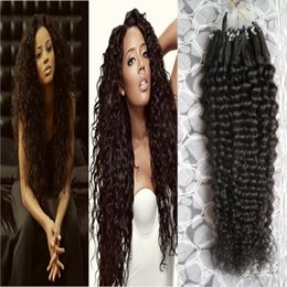 Wholesale extension human hair curly micro - Micro loop human hair remy Natural Color curly micro loop hair extensions 100g brazilian kinky curly micro hair extension