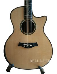 Wholesale Electric Guitars China - Custom handcrafted 41 inch wood color acoustic electric guitar,AAA solid spruce top,abalone inlay and purfling ,China made guitars