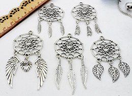 Wholesale Vintage Pendant Diy - 100pcs lot Vintage Antique Silver Dreamcatcher Charms Dangle Pendant Fit European necklace Jewelry Making diy