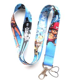 Wholesale One Piece Lanyards - Wholesale Mixed 10 pcs Popular Cartoon ONE PIECE Mobile phone Lanyard Key Chains Pendant Party Gift Favors 0211
