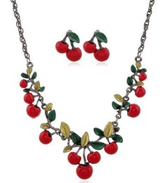 Wholesale Girls Red Cherry Set - Cute Fruit Necklace Earrings Sets 2017 Spring Summer Style Women Cherry Green Epoxy Leaves Necklace Girls Lovely Necklaces Free Shipping
