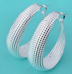 Wholesale Wholesale Fashion Mesh Hoop Earrings - 925 Silver Big Earring Jewelry Fashion Big Mesh Earring Jewelry For Women Wedding Gift 30 pairs Free Shipping