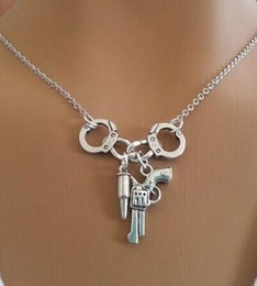Wholesale Handcuff Collar - Wholesale- Handcuffs Gun Charms Vintage Silver Choker Collar Statement Necklace Pendant DIY Jewelry Women Clothing Accessories HOT 1PCS A