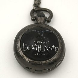 Wholesale Cute Pocket Watch Necklace - Wholesale-Fashion Death Note Pocket Watch Necklace Woman Cartoon Black Fob Watches Round Convex Lens Glass Picture Girl Cute Lady New Hot