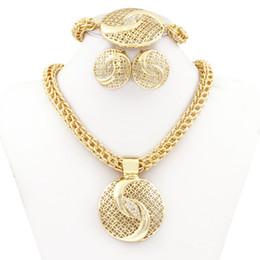 Wholesale Costume Big Necklace Sets - Latest Luxury Big Dubai Gold Plated Crystal Necklace Jewelry Sets Fashion Nigerian Wedding African Beads Costume Jewelry