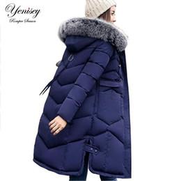 Wholesale Dark Blue Women Fur Coat - 2017 Winter Women Hooded Coat Fur Collar Thicken Warm Long Jacket women's coat girls long slim big fur coat jacket Down Parka