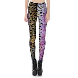 Wholesale Plus Size American Leggings - Womens Fish Scale Print Sexy Workout Slim Bodycon Pants Plus Size Casual Fitness Elastic Skinny Leggings For Female