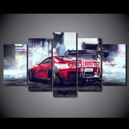 Wholesale Race Car Room Decor - 5 Pcs Set Canvas Pictures HD Prints Wall Art Red Sports Car Racing Paintings For Living Room Home Decor Modular Pictures