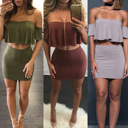 Wholesale Sexy Skirt Free - Sexy Strapless Bandage Dress Two Pieces Set Ruffled Top Wrap Skirt Clubwear Women Casual Tight Bodycon Dresses 3 color NY004 Free Shipping