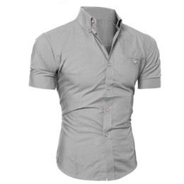 Wholesale Luxury Men Cloth Wholesale - Wholesale- 2016 New Arrive Fashion Men Shirts Luxury Business Stylish Slim Fit Short Sleeve Tops Shirt Casual Shirt Male Cloths 8 Colors