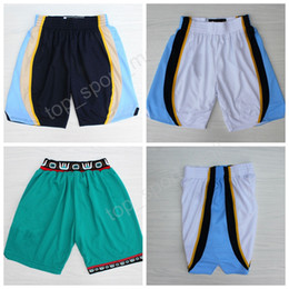 Wholesale Pants Green - Memphis 50 Zach Randolph Shorts Men White Green Navy Blue Team 3 Shareef Abdur-Rahim Basketball Pant All Stitched Free Shipping