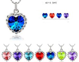 Wholesale Titanic Earrings Necklace - 9 Colors Titanic Women Austria Crystal Heart Necklace Drop Earrings Jewelry Set 20 Sets free shipping