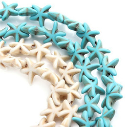 Wholesale Turquoise Seed Bead Bracelet - Starfish Loose Spacer Blue White Turquoise Beads Small Seed Beads DIY Bracelet Jewelry Making 38pcs Strand 13mm*13mm
