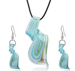 conjunto de jóias de aço inoxidável de urso Desconto Streamer Glitter Murano Lampwork Blown Venetian Pingentes De Vidro Colares E Conjuntos De Jóias Brincos Handmade Moda Jóias