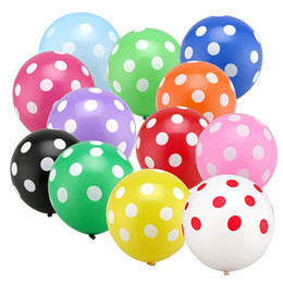 Wholesale Latex Decorative Balloons - 100 pcs lot High Quality 2.8g 12 Inch Round Polka Dot Latex Printed Balloons Baby Shower Birthday Wedding Party Decoration Supply