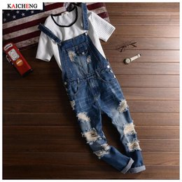 Wholesale Jeans Jumpsuits For Plus Size - Wholesale-2016 Spring Autumn Fashion Brand mens slim jeane overalls Casual bib jeans for men Male Ripped denim jumpsuit