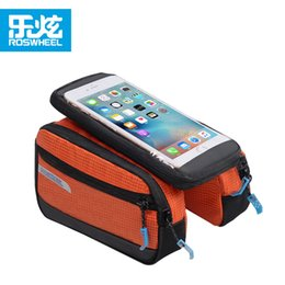 Wholesale Touchscreen Case - Roswheel Waterproof Cycling Bags Bike Front Frame Bag Tube Pannier Double Pouch for 5.5 inch Cellphone Touchscreen Bags Case 2509040