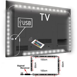 al por mayor tv lcd led Rebajas Venta al por mayor: USB alimentado RGB Cambio de color 5050 LED Lámpara de tira Computadora TV Retroiluminación USB Luz Kit Pantalla TV LCD PC de escritorio 2 * 100cm + 2 * 50cm