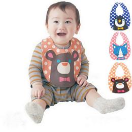 Wholesale Blue Burp Cloths - Cartoon Baby Bibs penguin bear Cat Polka Dot Stripe Newborn Burp Cloths Slabbetjes Infants Cotton Boys Girls Saliva animal Feeding Scarf C83