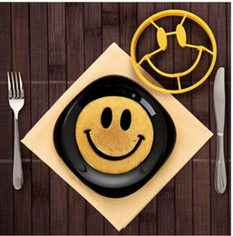 Wholesale Smiling Face Ring - Smiley Face Egg Mold Silicone Smile Shaped Pancakes Face cooking mold for eggs pancake DIY Fried Egg Mold KKA1922
