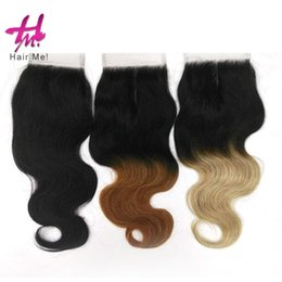Wholesale Nature Straight - Brown Blonde Ombre Brazilian Body Wave Lace Hair Closure 4x4 Three Style Nature color Virgin hair Closure Top silk based Closure