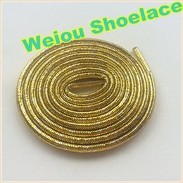 Wholesale Flash Boots - Hot Weiou Gold Silver rope laces Flashing Shoelaces Glitter shoe laces for dresses shoes cool sneaker laces for Woman boots 120cm