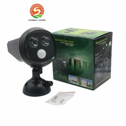 Wholesale Solar Powered Night Lights - LED Solar Powered PIR Motion Sensor Lights 2LED Super Bright IP65 Waterproof Oudoor Solar Wall Lamp LED Night Light