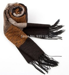 Wholesale Winter Mufflers Men - Wholesale-Winter Scarf Men Cotton Cashmere Cotton Shawls And Scarves Stripe Scarfs Male Brand Scarf Warm Shawl Black Muffler
