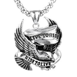 Wholesale Men Gold Eagle Necklace - Creative Gift Trendy Stainless Steel Eagle Punk Pendant Cool Men Titanium Steel Platinum Pendant Necklace Party Accessories