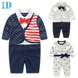 Wholesale Light Blue Leisure Suit - IDGIRL Newborn Baby Boy Rompers 100% Cotton Tie Gentleman Suit Bow Leisure Body Suit Clothing Toddler Jumpsuit Clothes JY0290