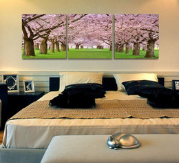 Wholesale Cherry Blossom Panel - 3 Panel Pure Handicraft Modern Home Wall Decor Art Oil Painting Cherry blossom Trees,on High Quality Canvas size can be customized