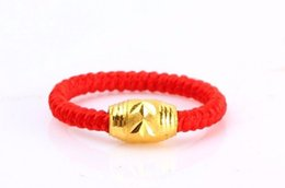 Wholesale 24k Solid Gold Ring - Authentic 999 Solid 24K Yellow Gold Ring  Bless Knitted Loose bead Ring