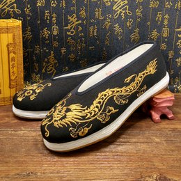 Wholesale National Rubbers - Dragon Beijing Embroidered casual National Shoes shaolin kung fu Wing chun tai chi Chinese style golden dragon emperor history