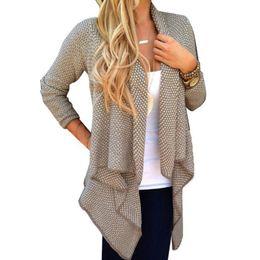 Wholesale Oversized Cardigans - Wholesale-2016 Autumn Winter Oversized Women Long Sleeve Knitted Sweater Irregular Cardigan Open Front Coat Top Outwear