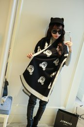 Wholesale Black Bear Print - Bear Head Scarf for Winter 2017 Women brand designer scarfs warm long section of thicker scarf bear print double faced all-match cape
