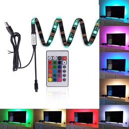 Wholesale Tv Remote Screen - 5050 USB LED Strips Backlight RGB Lights with Remote Control for HDTV Flat Screen TV Accessories and Desktop PC
