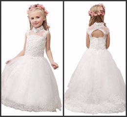 Wholesale Hot Sexy Open Girls - Floor Length Tulle Flower Girl Dresses Communion Dresses Formal High Neck Open Back Sexy Sleeveless High Quality Party Wear 2017 Hot Sale