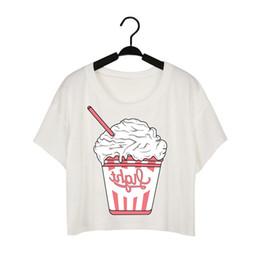 Wholesale Ice Cream T Shirts - t shirts for women harajuku bare midriff women t shirt shirt for women fashion brand new clothing white plain free shipping NV48-Ice Cream