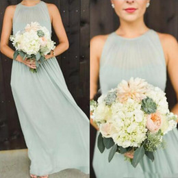 Wholesale Halter Back Wedding Gowns Chiffon - 2017 Elegant Mint Green Chiffon Long Bridesmaid Dresses Floor Length Keyhole Back Boho Country Wedding Party Maid of Honor Gowns Formal