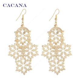 Wholesale earrings snowflake long - CACANA Gold Plated Dangle Long Earrings For Women Snowflake Shape Fashion Bijouterie Hot Sale No.A227 A228