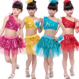 Wholesale Latin Stage Sequin Dancewear - New Girls Sequined Modern Jazz Hip Hop Dancewear dress Kid's Party Latin Dance Costumes Set Stage Wear Latin Dancewear DS Dancing Costumes